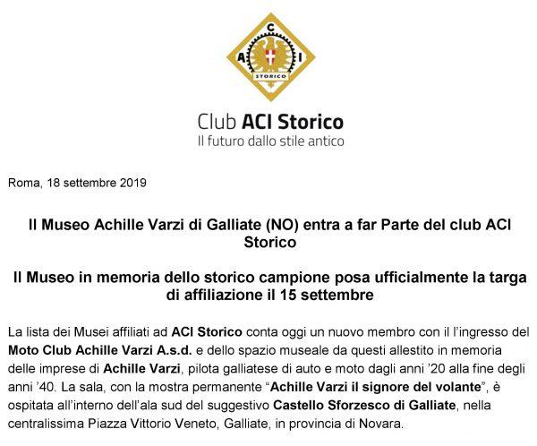 Il Museo Achille Varzi di Galliate entra a far Parte del club ACI Storico
